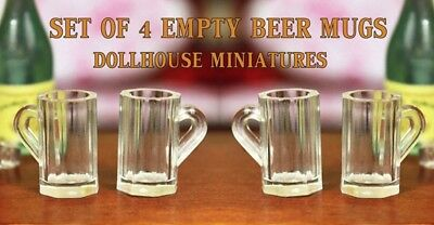 SET of 4 BEER MUGS SET GLASSES 1/12 SCALE for Dollhouse Miniature orFAIRY GARDEN