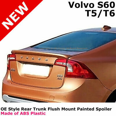 For 2017 Volvo S60 Color Matched Painted Rear Trunk Spoiler Ice White 614