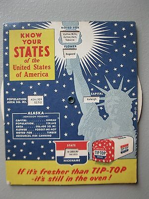 Vintage Mechanical Wheel Know Your States of the USA Tip-Top Bread 1957