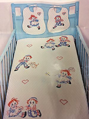 "Vintage 1978 ""Raggedy Ann & Raggedy Andy"" Crib Quilt KIT 40"" x 60""   HTF  OOP"