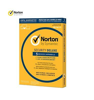 NORTON SECURITY DELUXE 1 year 5 Devices , Sealed Retail Box