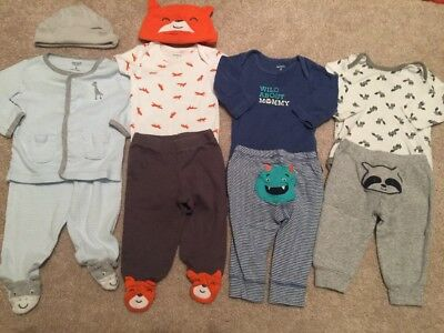 10 PC Carter's Lounge Outfit Lot - Size 3 Months Gender Neutral Fox Monster
