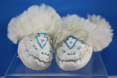 Vintage Childrens White Leather with Beading & Fur Trim Moccasin Slippers