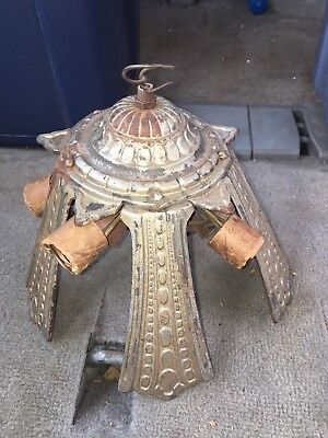 "1930's 10 1/4"" Art Deco 5 Bulb Hanging Light Fixture"