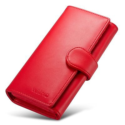 RED Womens Wallet Lady Genuine Leather Clutch Zip Coin Purse Long Card Holder
