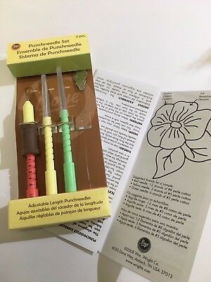 New adjustable length punch needles set 5 pieces plus flower pattern craft art