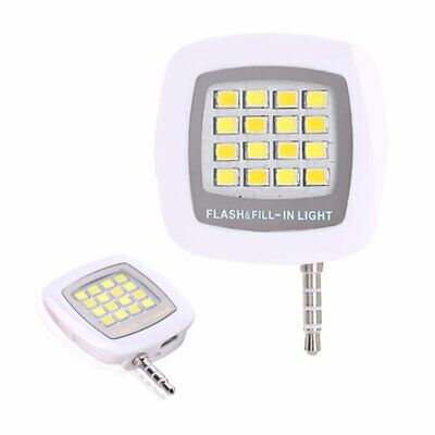 Smart Selfie 16 LED Camera External Flash Light for IOS Android Smartphone 3.5mm
