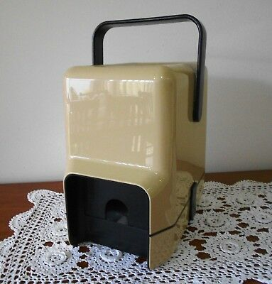 RETRO DECOR WINE CASK COOLER CARRIER WITH ICE BRICK C1980s BEIGE AND BLACK