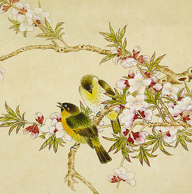 "18"" Silk Brocade Bird & Flower Chinese Painting Watercolor: Yellow Bird! ="