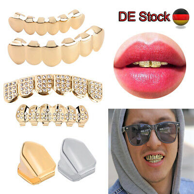 Hip Hop Vergoldeter Zähne Gold Strass Plated Teeth Single Tooth Grillz Deko Mode