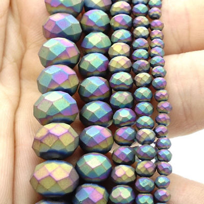 2017 new Rondelle Faceted Crystal Glass Loose Spacer Scrub Beads 3/4/6/8/10mm