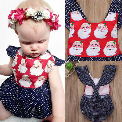 Christmas Newborn Baby Kids Girls Jumpsuit Romper Bodysuit Outfit Clothes 0-24M