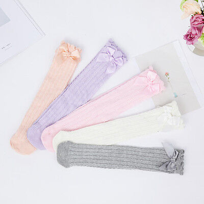 Girl Cute Socks Knee High Lace Bows Princess Long Tube Baby Winter Warm Socks