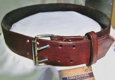 Handmade British Tan Wide Line Carved Leather 2 Prong Buckle Pirate Plunder Belt