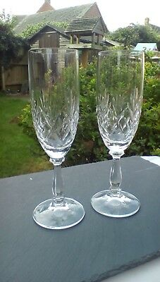 """Royal Albert Crystal """"Victoria"""" Pair of Champagne Flutes, 19.5cm tall."""