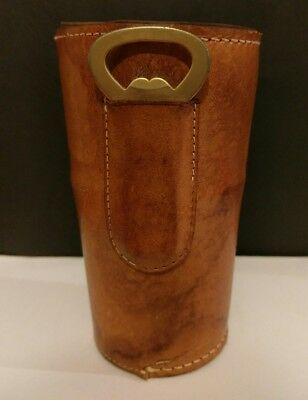 Vintage Gold Anodised Cups x 6 Genuine Kangaroo Leather Case with Bottle Opener