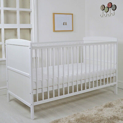 New 4Baby White Kareena Wooden Cot Baby Cotbed With Foam Safety Mattress