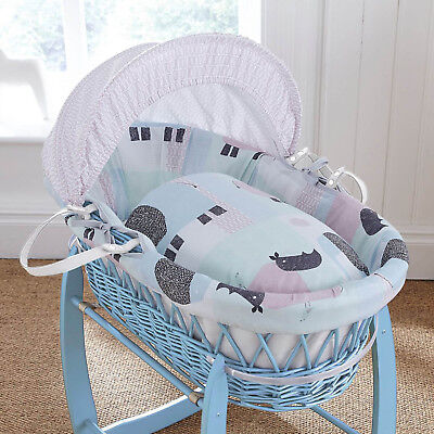 Clair De Lune Stanley & Pip Blue Wicker Padded Baby Moses Basket & Mattress