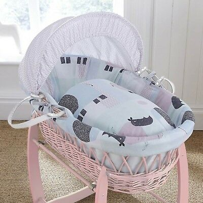 Clair De Lune Stanley & Pip Pink Wicker Padded Baby Moses Basket & Mattress