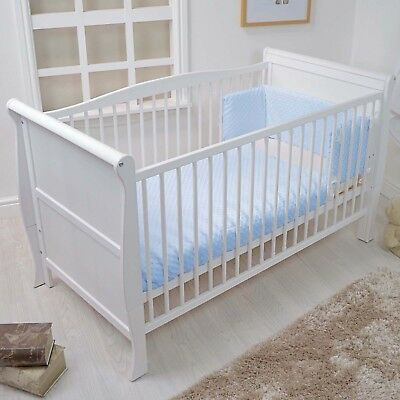 New 4Baby Blue Dimple Cot / Cot Bed Baby Quilt & Bumper 2 Piece Bedding Set