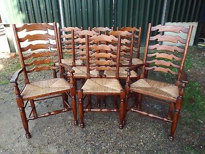 Quality Set of Eight (6+2) Solid Oak Ladder Back Rush Seat Dining Chairs ref3779