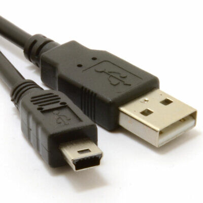 USB 2.0 24AWG Hi-Speed A to mini-B 5 pin Cable Power & Data Lead  1.5m