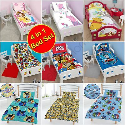 Junior Toddler 4 In 1 Bedding Set - Duvet Covers, Quilt, Pillow - Disney & More