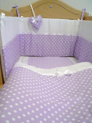 Babies Lilac & White Spots Nursery Bedding for, cradle, cot or cotbed FREE POST