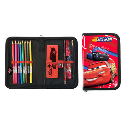Cars Single Zip Filled Pencil Case Drawing Eraser Ruler Fun Fan Official Product