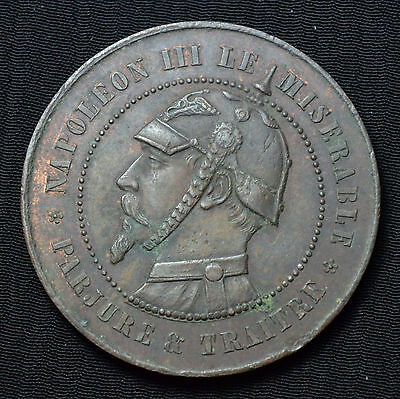 1870 France, Napoleon Iii 10 Centimes Satirical Bronze Jeton, Coll.37