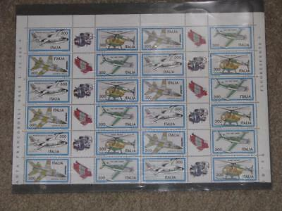 Italy-Aircraft Type of 1981, Scott# 1505-1508, 6 Blocks of 4 with Labels