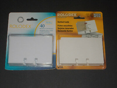 """NIP Rolodex Refill 40 Slotted Cards & 40 Card Sleeves 2 5/8"""" x 4"""""""