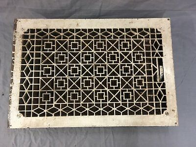 Antique Cast Iron Heat Grate Floor Vent Register Old Vtg Geometric 22x14 662-17E