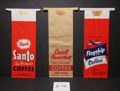 3 Vintage Mint, Never Opened - 1 Lb. Coffee Bags - Santo, Cool Roasted, Flagship