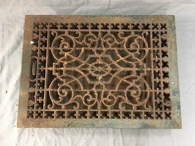 Antique Cast Iron Heat Grate Floor Vent Register Vtg Victorian Old 20x14 663-17E