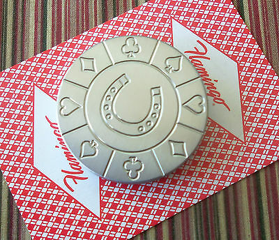 Horse Shoe, Stainless Steel Round Poker Card Protector Card Guard Paper Weight