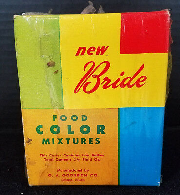 Vintage Bride Food Coloring G.A. Goodrich Chicago Set of 4 Bottles Unopened Box
