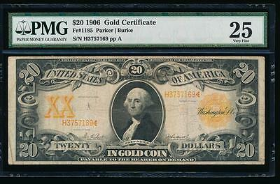 AC Fr 1185 1906 $20 Gold Certificate PMG 25 Parker/Burke tougher year
