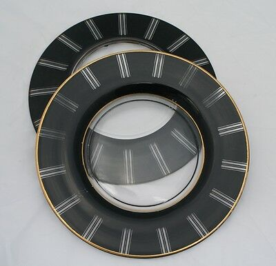 Art Glass Plates Black & Clear Art Deco Finished Bottom Pair