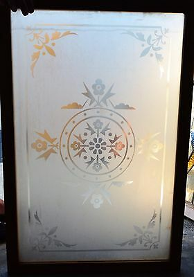 Antique Victorian Etched Glass Window Wood Frame England Old House
