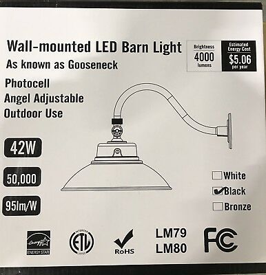 Barn Light LedGooseneck Arm Adjustable LED Fixture Wall Black  Shade 42w
