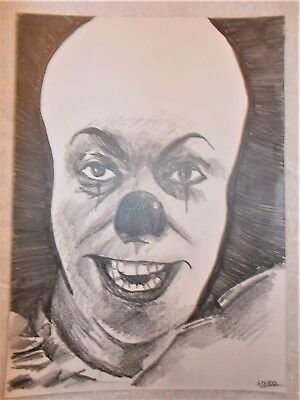 A4 Art Graphite Pencil Sketch Drawing Pennywise The Clown from Stephen King's IT