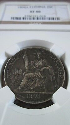 French Indochina 20 Cents 1894A NGC XF 40