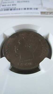 Cambodia 5 Cent 1860 dated Restrike NGC MS 62 BN
