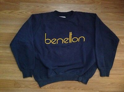 Vtg 1980s United Colors of Italy Benetton Crew Neck Sweatshirt Logo SPELL OUT