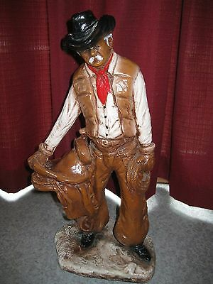 Vintage Florentine Cowboy with Saddle Plaster-Chalkware Statue