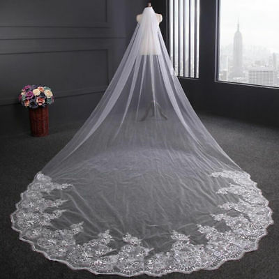 NEW 4m Luxury 1T Cathedral Wedding Lace Sequins Long Veil With Comb US