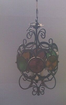 Chandelier Antique Light  Fixture Ceiling Glass 8 Multi Colored Glass 3 Lamps