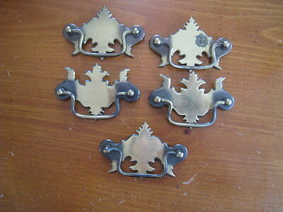 5 Vintage Matching Brass Chippendale Style Drawer Pulls w/ Bails Handles