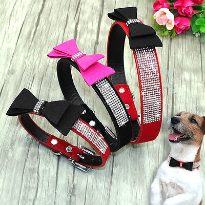 10pcs Wholesale Rhinestone Bowknot Studded Puppy Dog Collars Suede Leather S M L